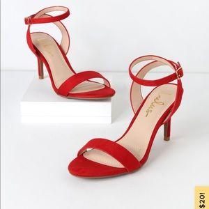 Lulus Red Strap Heels Size 5.5